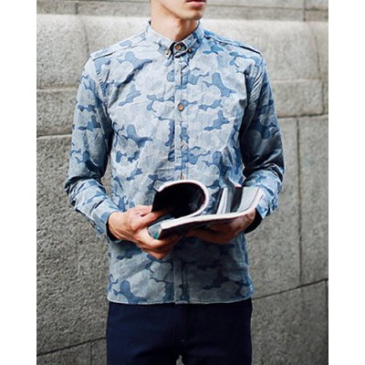 Гаджет   Casual Style Slimming Long Sleeves Turn-down Collar Camo Print Button Embellished Men