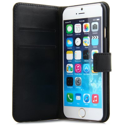 ФОТО Artificial Leather and Frosted Plastic Material Pure Color Protective Cover Case with Card Holder and Stand for iPhone 6