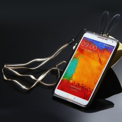Cute Rabbit Ear Design TPU Protective Bumper Frame Case with Lanyard for Samsung Galaxy Note 4 N9100