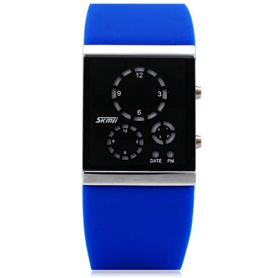 Skmei 0984 LED Sports Watch with Tempered Glass Date Energy Saving Wristwatch