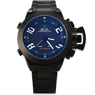 Гаджет   Weide WH - 1008B Male Military Sports Quartz Watch 3AMT Water Resistant Double Movts Analog Digital Hidden LED Alarm Wristwatch Sports Watches