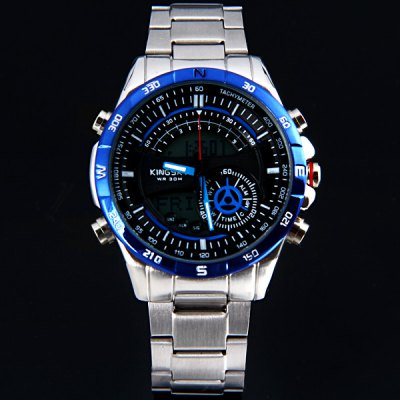 ФОТО Kingsky S279 Male Dual Time Watch Week Date Multifunction Round Dial Stainless Steel Strap