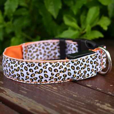Sexy Leopard Print LED Collar 2.5cm Wide Glow Flashing Puppy Necklace Pet Decorative Props ( 48  -  60cm Adjustable Extent ) от GearBest.com INT