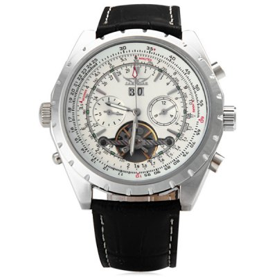ФОТО Jaragar A212 Men Automatic Mechanical Watch Date Genuine Leather Band Round Dial