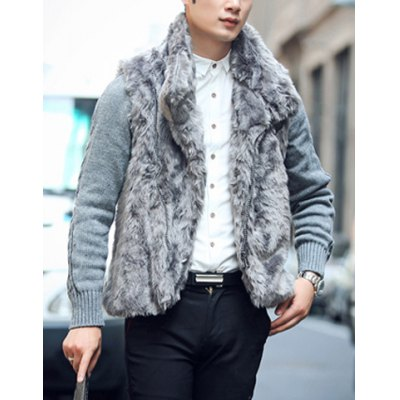 Гаджет   Stylish Turndown Collar Slimming Thicken Knitted Splicing Long Sleeve Faux Fur Cotton Coat For Men Jackets & Coats