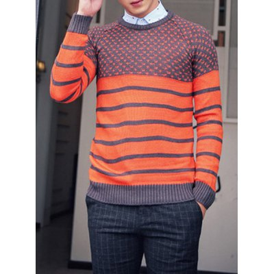 Гаджет   Stylish Round Neck Slimming Hit Color Stripe Jacquard Long Sleeve Cotton Blend Sweater For Men Sweaters & Cardigans