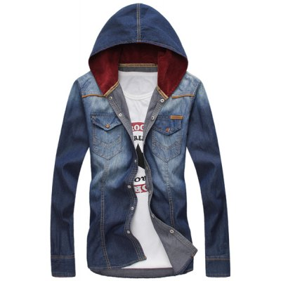 Гаджет   Stylish Hooded Slimming Double Pockets Fabric Splicing Long Sleeve Denim Shirt For Men Shirts
