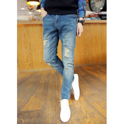 Гаджет   Casual Style Zipper Fly Narrow Feet Slimming Personality Patch Design Men