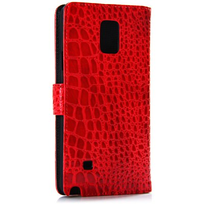 ФОТО Artificial Leather and Plastic Material Grid Pattern Cover Case with Card Holder and Stand for Samsung Galaxy Note 4 N9100