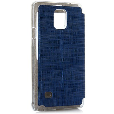 ФОТО Artificial Leather and Plastic Material Cover Case with View Window and Stand for Samsung Galaxy Note 4 N9100