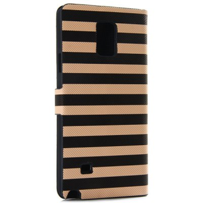 ФОТО Artificial Leather and Plastic Material Dual Color Stripe Cover Case with Card Holder and Stand for Samsung Galaxy Note 4 N9100