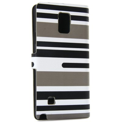 ФОТО Artificial Leather and Plastic Material Three Colors Stripe Cover Case with Card Holder and Stand for Samsung Galaxy Note 4 N9100