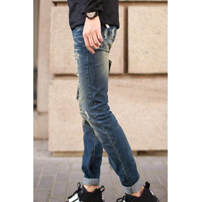 Гаджет   Slimming Trendy Destroy Wash Rivets Embellished Narrow Feet Jeans For Men Pants
