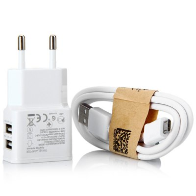 2 in 1 EU Standard Power Adapter with Micro USB Interface Cable