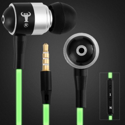 Mosidun Q12 Luminous Cable In - ear Earphone 1.2M Round Cable Headphone with Mic Universal 3.5MM Jack