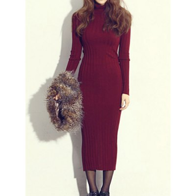 Simple Turtle Neck Long Sleeve Furcal Bodycon Knitted Women's Dress