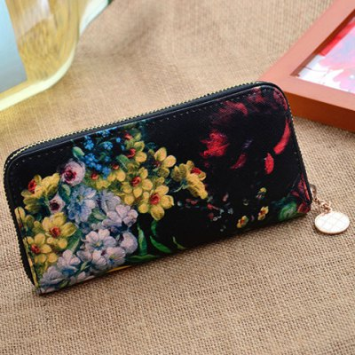 Pretty Zip and Floral Print Design Women's Clutch Wallet