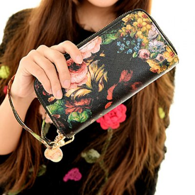 Fashion Zip and Floral Print Design Women's Clutch Wallet
