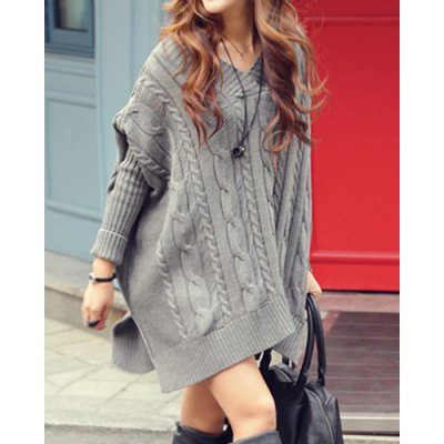 Oversized cable knit slouchy jumper dress