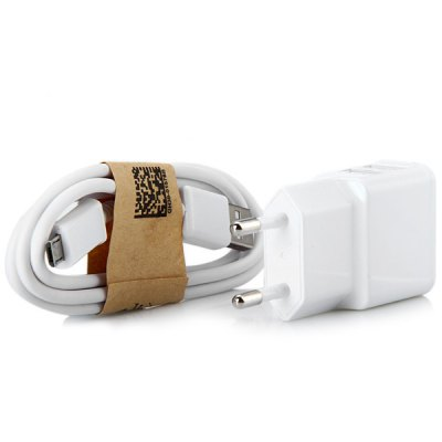 2 in 1 EU Standard Double USB Ports Charger Power Adapter with Micro USB Interface Cable