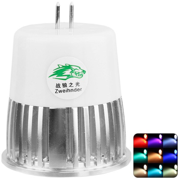 Zweihnder 400LM MR16 5W RGB Multi - colour Silver Spot Lamp and Remote Controller Set - AC 85 - 265V