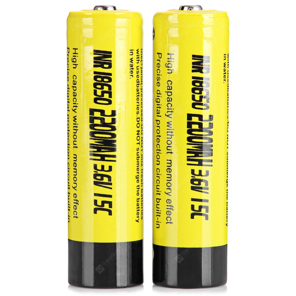 Tangspower 2 x 2200mAh 18650 3.6V High Drain 15C Rechargeable INR Lithium Battery