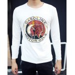Buy Stylish Round Neck Slimming Indian Head Portrait Printed Long Sleeve Polyester T-Shirt Men L WHITE