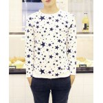 Buy Casual Style Long Sleeves Round Neck Five-Pointed Star Print Slimming Men's Cotton Blend T-Shirt 2XL WHITE