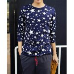 Buy Casual Style Long Sleeves Round Neck Five-Pointed Star Print Slimming Men's Cotton Blend T-Shirt XL SAPPHIRE BLUE