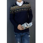 Buy Casual Style V-Neck Long Sleeves Abstract Print Slimming Men's Cotton Sweater XL