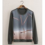 Buy Casual Style Long Sleeves Round Neck Slimming Matchstick Print Men's Cotton Blend Sweatshirt XL COLORMIX