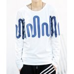 Buy Casual Style Round Neck Slimming Color Block Abstract Print Long Sleeves Men's Cotton T-Shirt XL WHITE