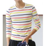 Buy Casual Style Long Sleeves Round Neck Stripes Print Slimming Men's Cotton Blend T-Shirt L STRIPE