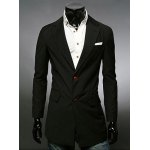 Buy Stylish Medium Style Lapel Slimming Solid Color Long Sleeve Polyester Blazer Men 2XL BLACK