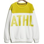 Buy Casual Style Round Neck Long Sleeves Letters Print Color Splicing Slimming Men's Cotton Blend Sweatshirt M COLORMIX