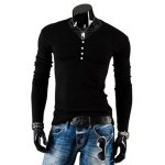 Buy Stylish V-Neck Slimming Solid Color Button Embellished Long Sleeve Polyester T-Shirt Men 2XL BLACK