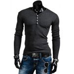 Buy Stylish V-Neck Slimming Solid Color Button Embellished Long Sleeve Polyester T-Shirt Men XL DEEP GRAY