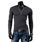 Buy Stylish Round Neck Slimming Solid Color Button Design Long Sleeve Polyester T-Shirt Men M DEEP GRAY