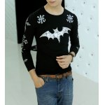 Buy Casual Style Long Sleeves Round Neck Personality Bat Cross Print Slimming Men's Cotton Blend T-Shirt M BLACK