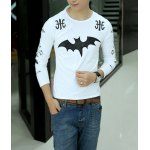 Buy Casual Style Long Sleeves Round Neck Personality Bat Cross Print Slimming Men's Cotton Blend T-Shirt XL WHITE