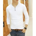 Buy Simple Style Long Sleeves V-Neck Button Embellished Solid Color Slimming Men's Cotton Blend T-Shirt XL WHITE
