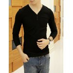 Buy Simple Style Long Sleeves V-Neck Button Embellished Solid Color Slimming Men's Cotton Blend T-Shirt 2XL BLACK