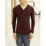 Buy Simple Style Long Sleeves V-Neck Button Embellished Solid Color Slimming Men's Cotton Blend T-Shirt L WINE RED