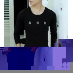 Buy Simple Style Long Sleeves Round Neck Personality Metal Letters Embellished Solid Color Slimming Men's Cotton Blend T-Shirt 2XL BLACK