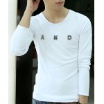 Buy Simple Style Long Sleeves Round Neck Personality Metal Letters Embellished Solid Color Slimming Men's Cotton Blend T-Shirt 2XL WHITE