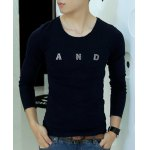 Buy Simple Style Long Sleeves Round Neck Personality Metal Letters Embellished Solid Color Slimming Men's Cotton Blend T-Shirt M PURPLISH BLUE