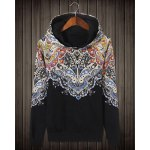 Ethnic Style Hooded Slimming Colorful Personality Print Long Sleeves Men's Cotton Blend Plus Size Hoodies