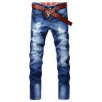Buy Casual Style Slimming Zipper Fly Narrow Feet Personality Hole Design Men's Denim Pants 30 BLUE