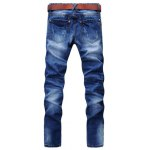 Buy Casual Style Slimming Zipper Fly Narrow Feet Personality Hole Design Men's Denim Pants 28 BLUE