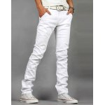 Buy Casual Style Zipper Fly Straight Leg Solid Color Elasticity Men's Denim Pants 28 WHITE